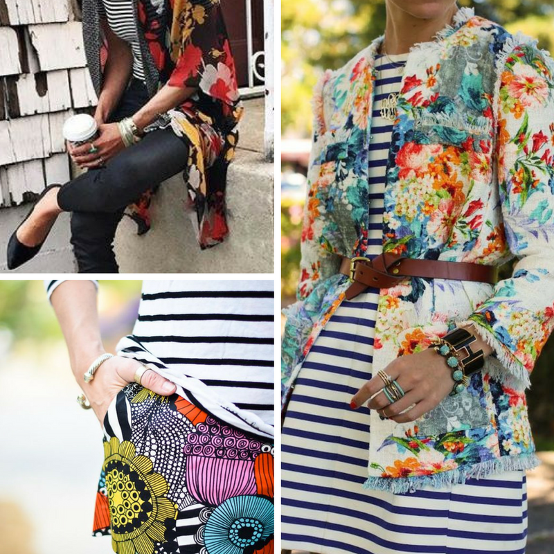 Stripes and florals - it's another juxtaposition similar to masculine vs. feminine, tweed vs. florals, etc. Only for the daring, it's one that's sure to turn heads.