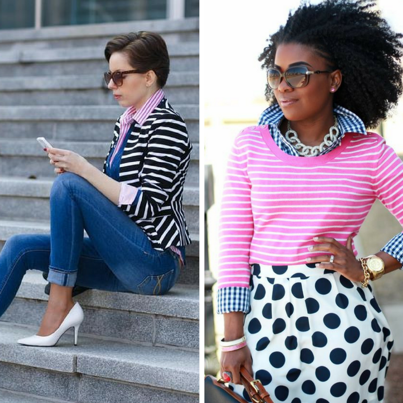 These ladies just go for it! On the left,   she's   paired stripe with stripe, pink with blue, and a blazer and jeans with ladylike heels - how can't you love that? And our   woman on the right   has no qualms about print on print on print - she's an expert who's daring you to come join her...