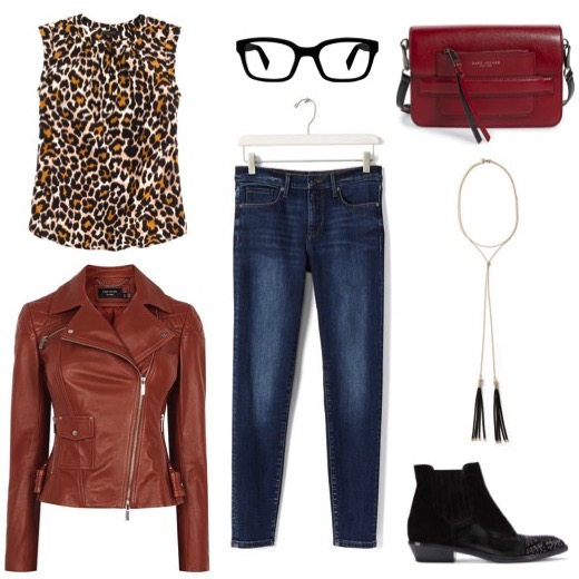 Butterscotch leather moto jacket   by Karen Millen.   Ankle jeans   and   lariat necklace   by Banana Republic.   Embellished-toe booties   by M. Gemi.   Leather crossbody bag   by Marc Jacobs.   Eyeglasses   by Warby Parker.