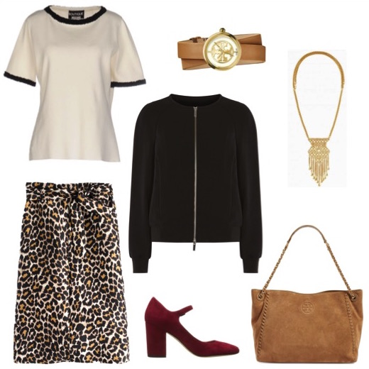 Crewneck sweater   by Boutique Moschino.   Black bomber jacket   by Karen Millen.   Suede stacked heel mary janes   by Via Spiga.   Suede tote   and   double-wrap watch   by Tory Burch.   Gold pendant necklace   by Stella & Dot.
