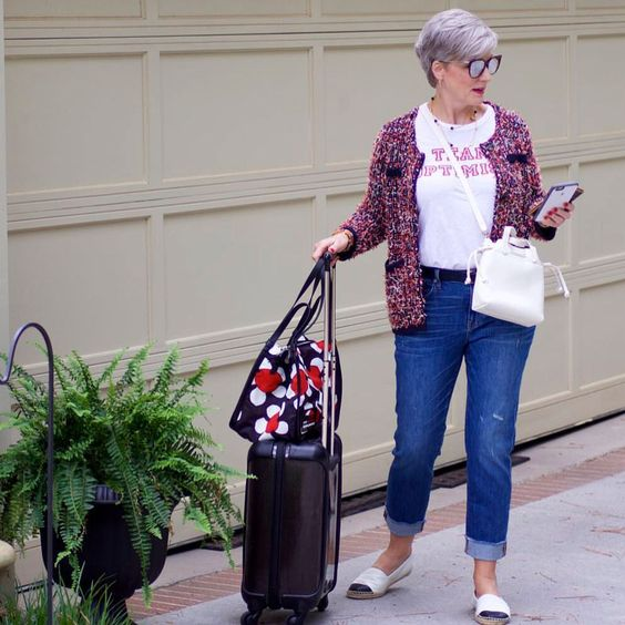 It never hurts to be prepared for an amazing discovery that normally wouldn't fit in your bag – so either bring luggage one size bigger than needed (so there's room to spare) or pack a foldable zipper bag at the bottom of your suitcase as a 'just in case'.   Photo from  Style at a Certain Age