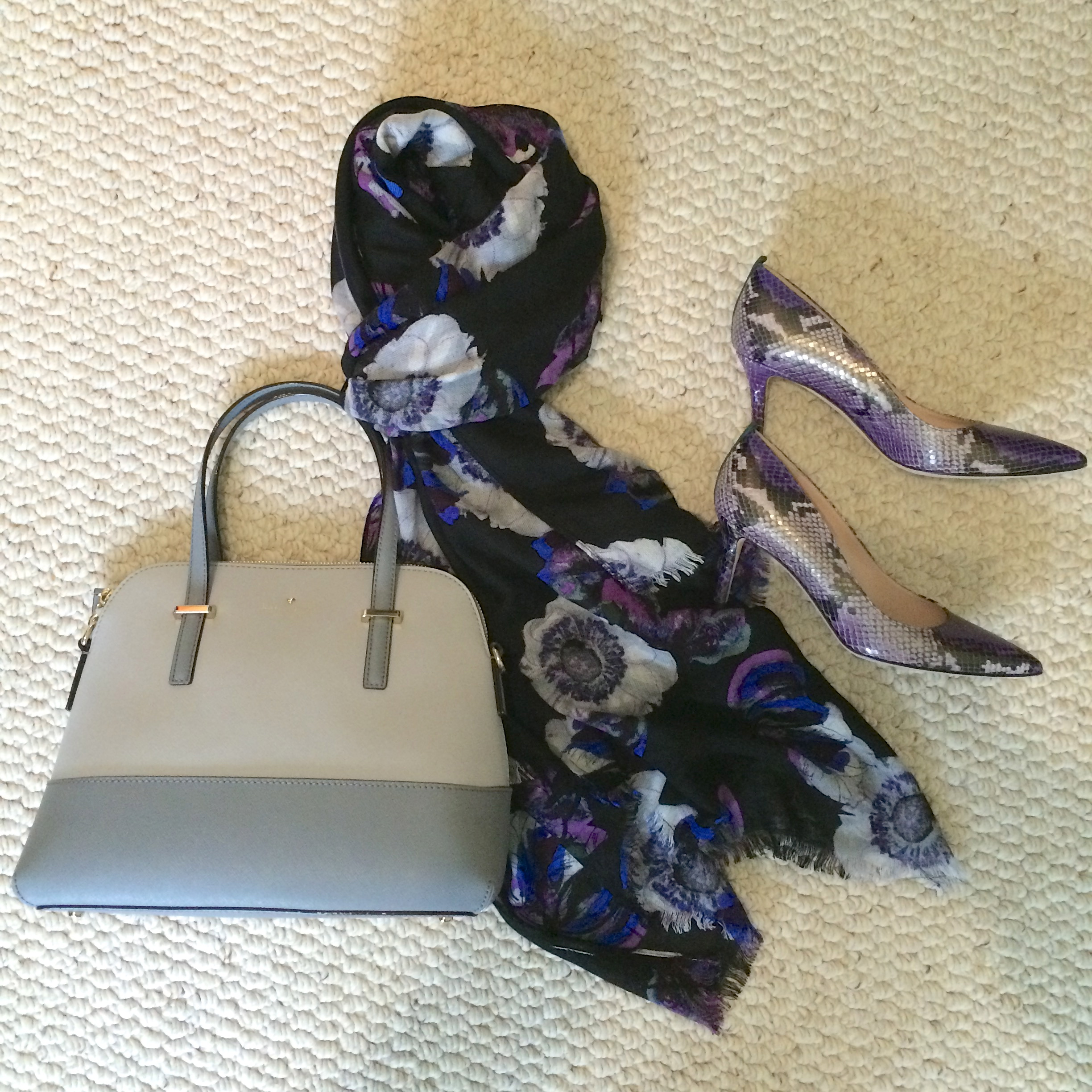 floral scarf snake heels color block bag.jpeg