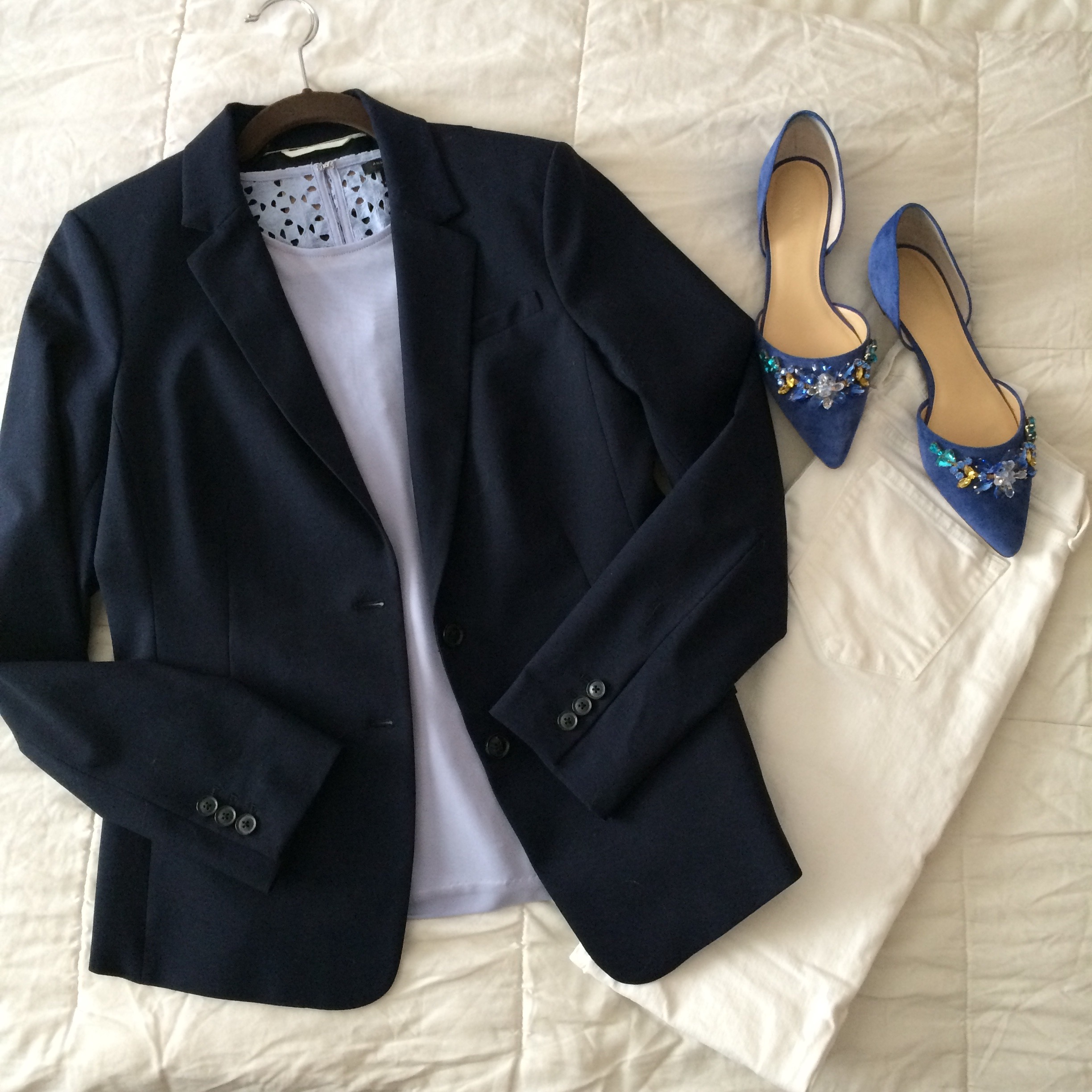 beaded flats and navy blazer.jpg