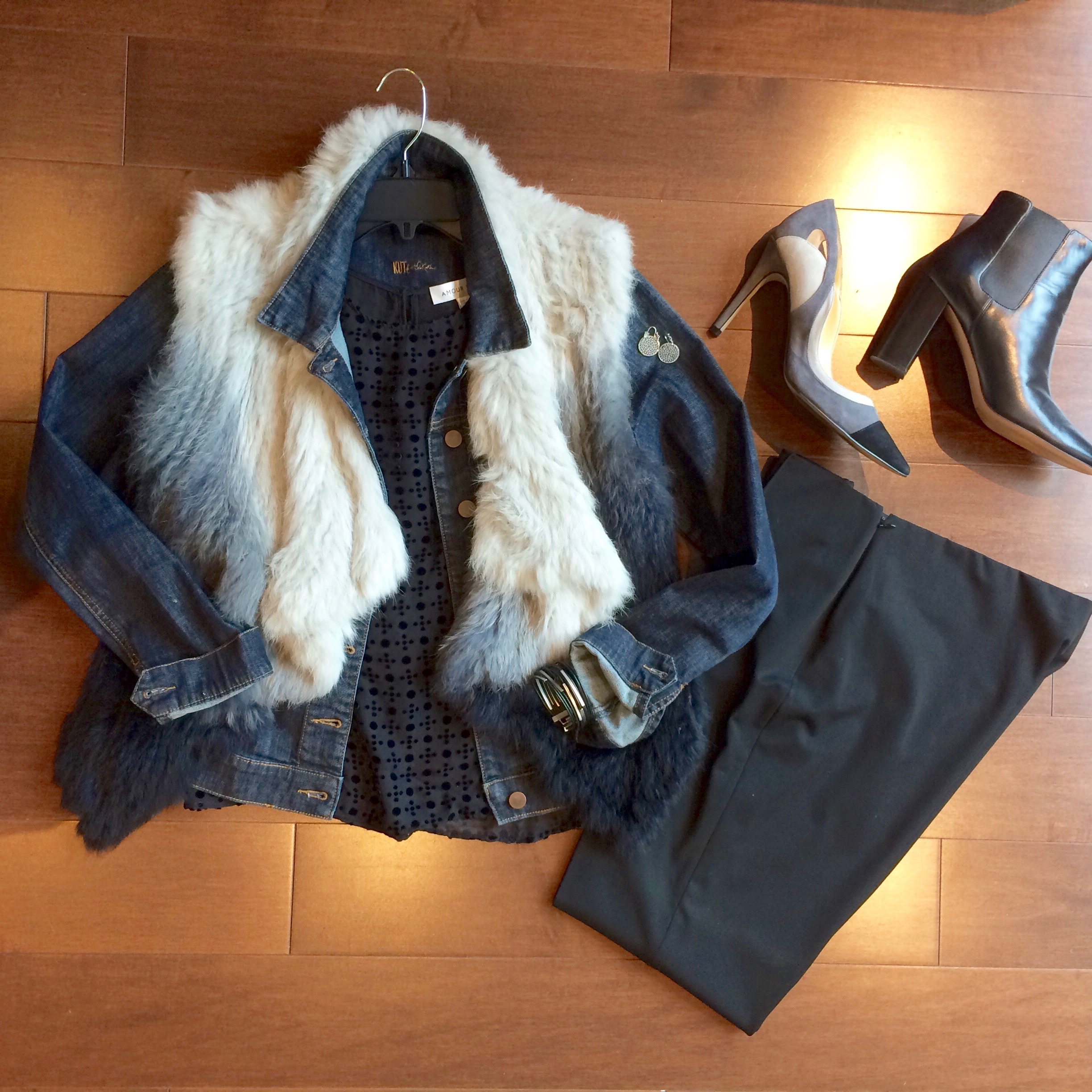 fur vest and color block heels.jpg