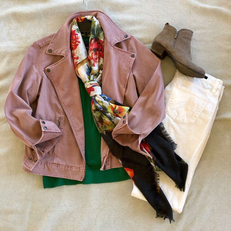 A 'blueprint' scarf gives you all the permission you need to pair a salmon pink jacket with a kelly green sweater. Add white cords and it's an unexpected winter look!