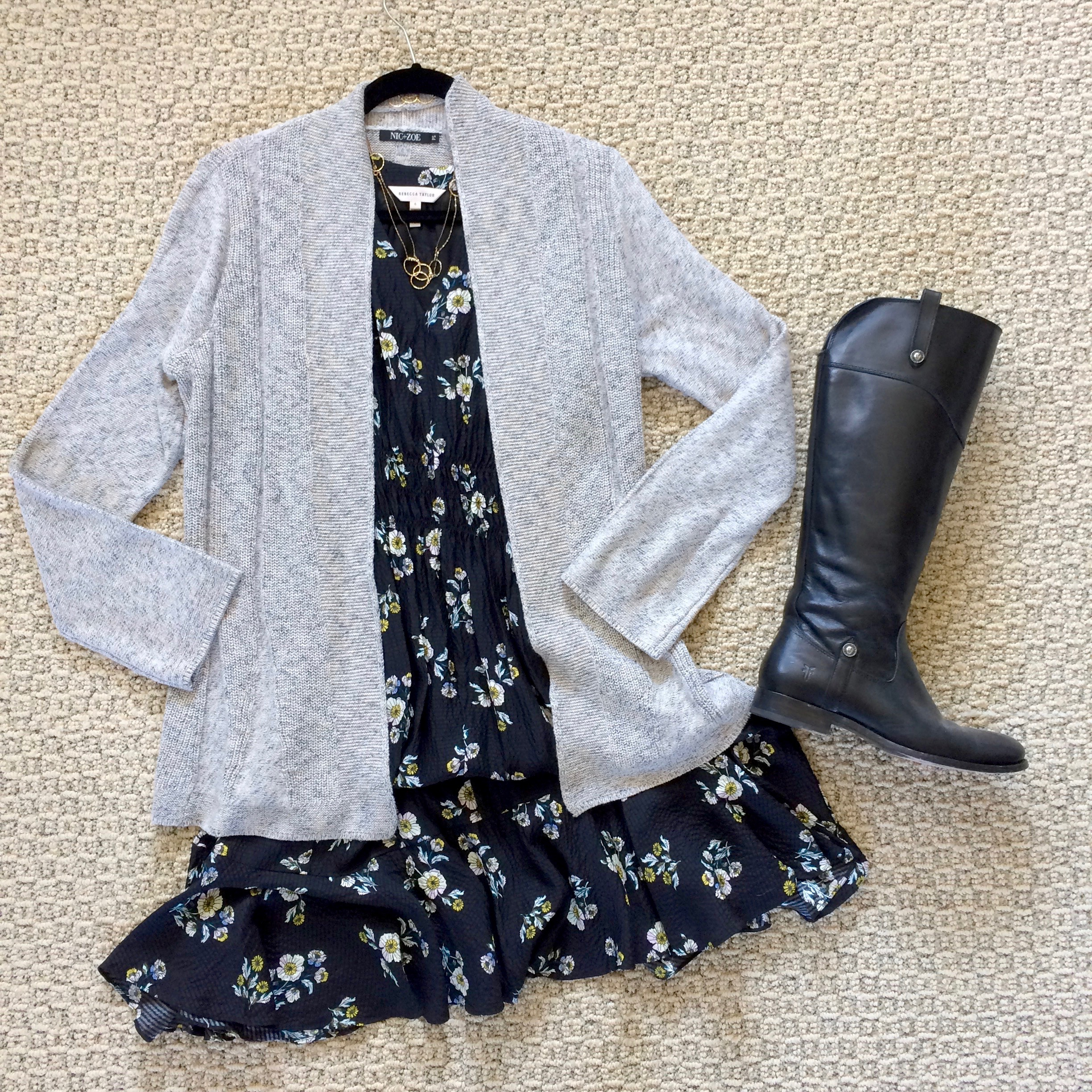 Your summer floral dress becomes winter friendly with a long cardigan, tights and knee-high boots.