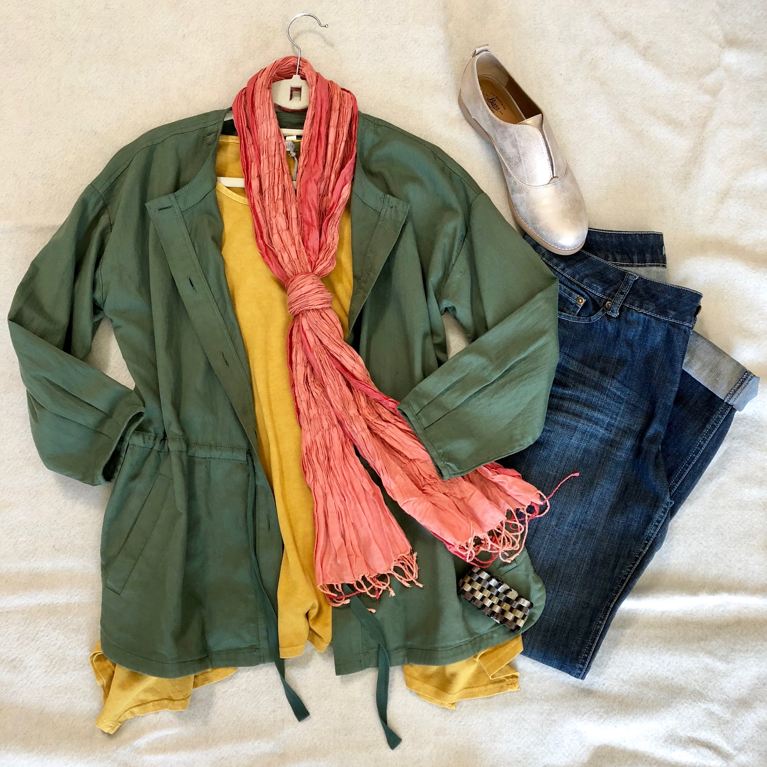 Mustard and coral are a fun color combo, especially when paired with an olive jacket. And when in doubt, metallic shoes are a no-brainer!