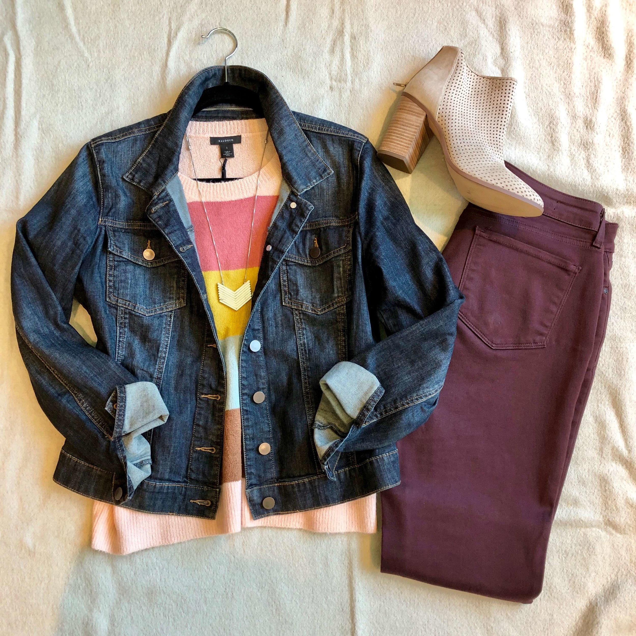 Even when you want to feel cozy at the office, you can embrace color in a pink and blush based sweater and burgundy jeans.