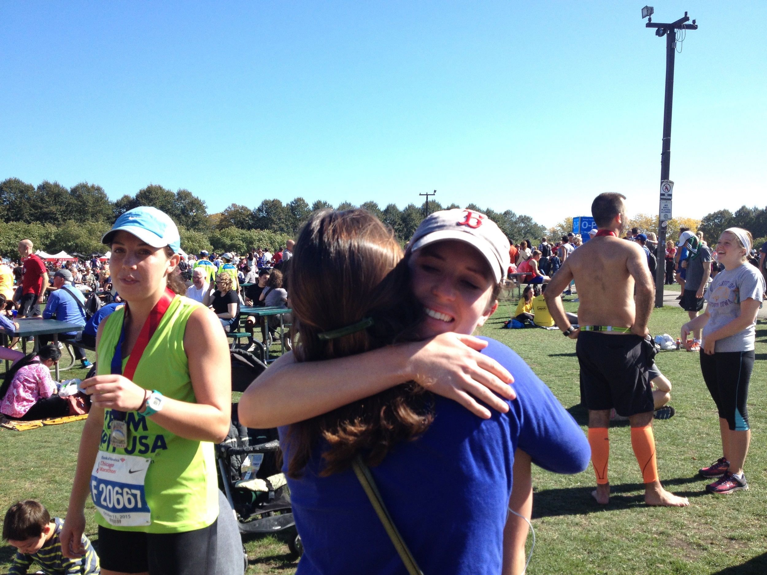 Megan finishes the Chicago Marathon