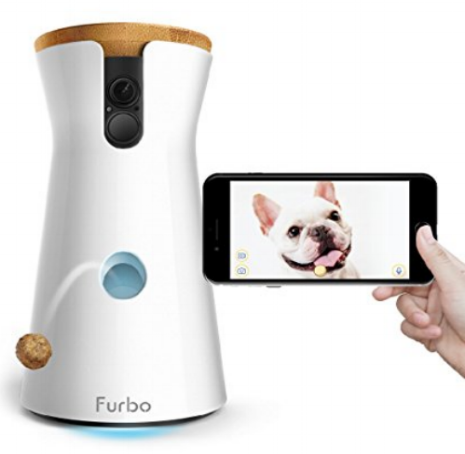 Furbo Treat Dispensing Camera - An interactive camera that allows you to see (and hear!), talk to, and reward your pets from wherever you are from your phone!