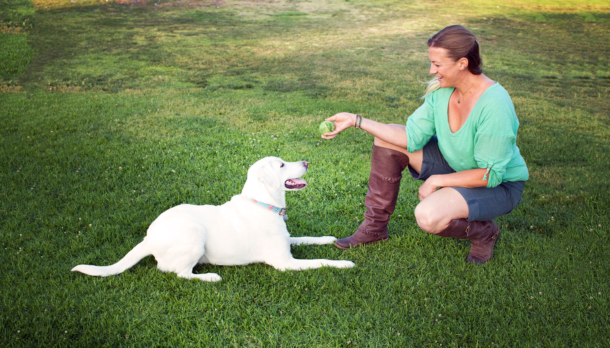 Our Senior Los Angeles Dog Trainer, Sara, playing some fetch with Callie The Dog