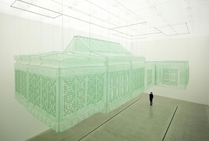 DO HO SUH,  Seoul Home , 1999, silk, metal armature 573.62 x 282.28 x 153.94 inches 1457 x 717 x 391 cm. Copyright Do Ho Suh republished from the internet here for the sole purpose of sharing this artist's work via a social platform. (blog)