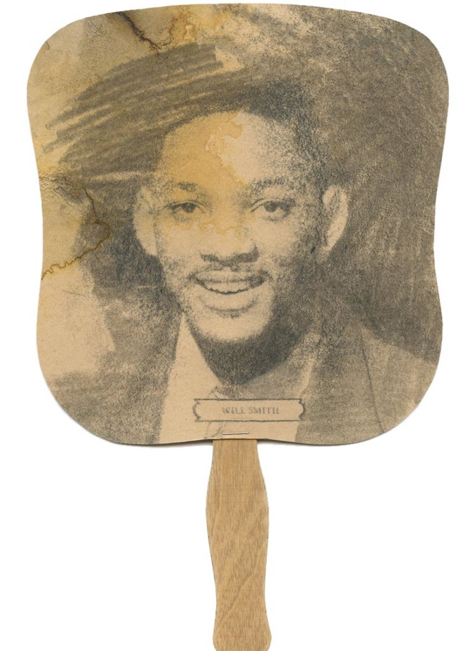 "Chris Watts, ""Will Smith Memento"", 2012, Carbon, Ink, Graphite, Wood, Staple, on found paper. 7.5 x 7.5"". This image is blogged here from the artists site to share his work and to comment on it for purposes of my blog only. Copyright is Chris Watts, Artist."