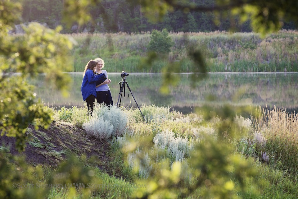 Patricia (Monterey, CA) and Nicole (Houston, TX) set up for an early morning shoot at Lakota Lake in the beautiful Black Hills of South Dakota. 2013 Black Hills Photo Adventure