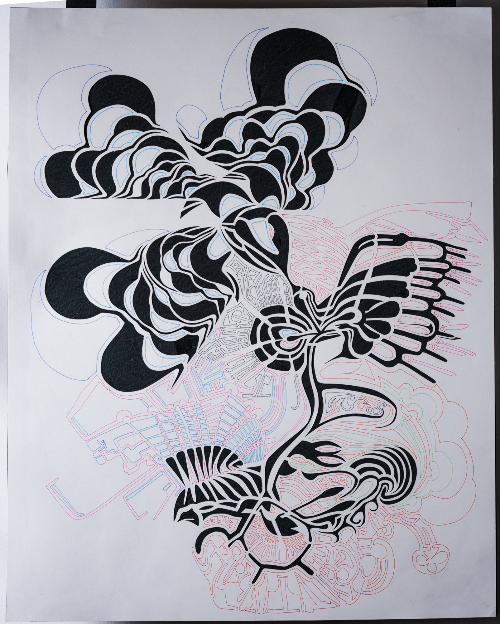 Sine Wars  Original cut paper art and line drawing
