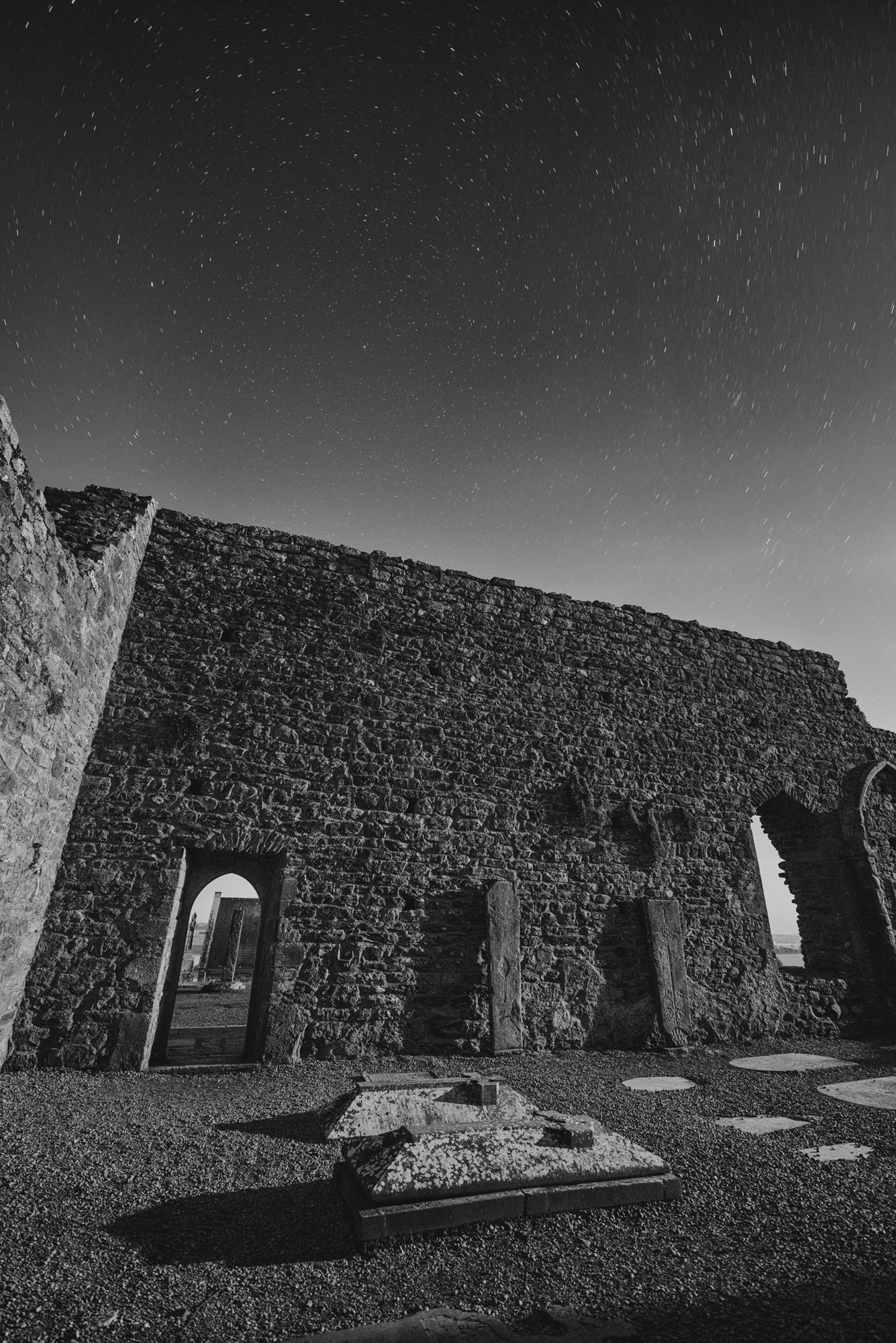 Clonmacnoise Monastery night photography Ireland