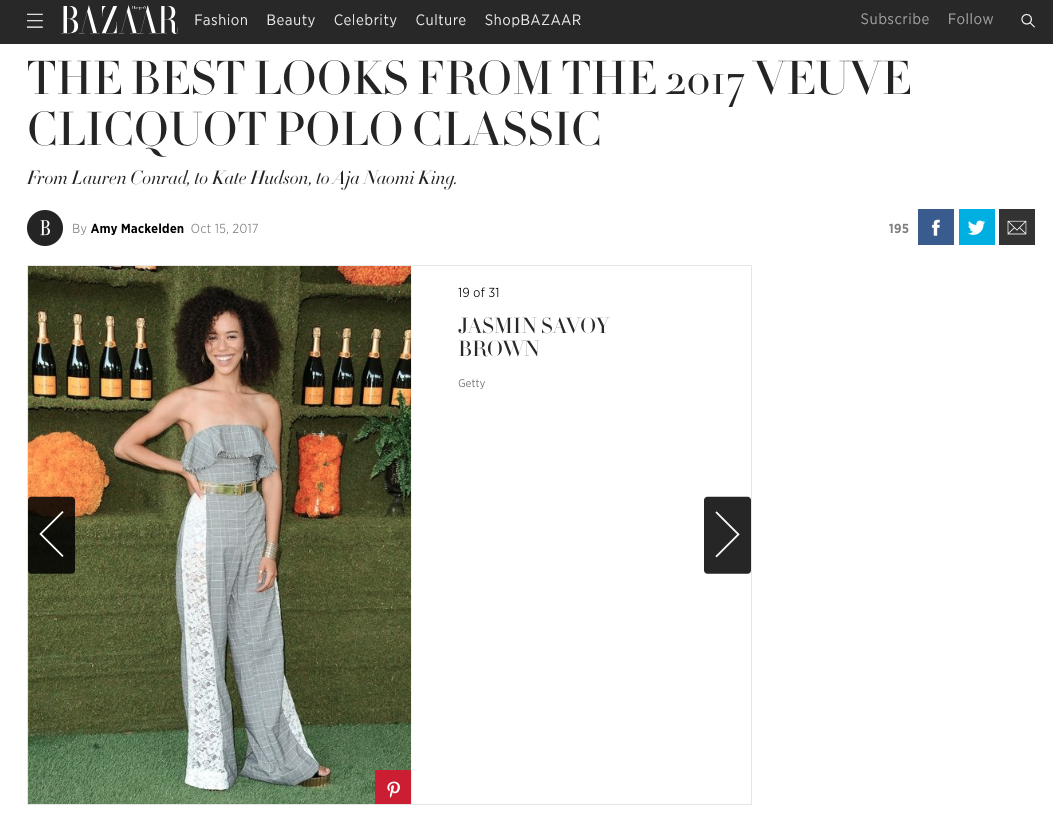 Harpers Bazaar, Best looks from the 2017 Veuve Clicquot Polo Classic: Garden Party Jumpsuit and VII Belt