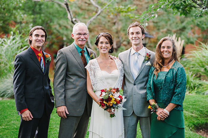 (Bride and groom with groom's family)