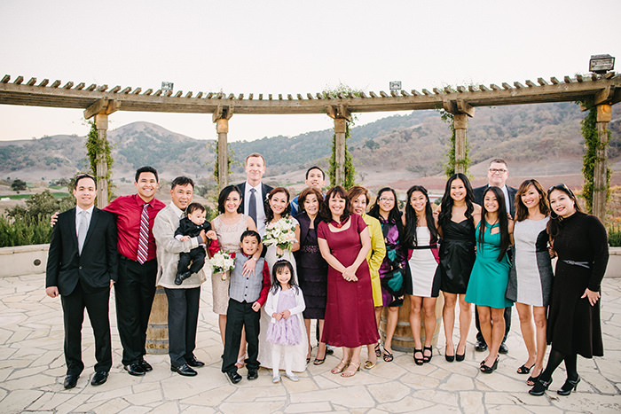 Bride and groom with all of bride's family!
