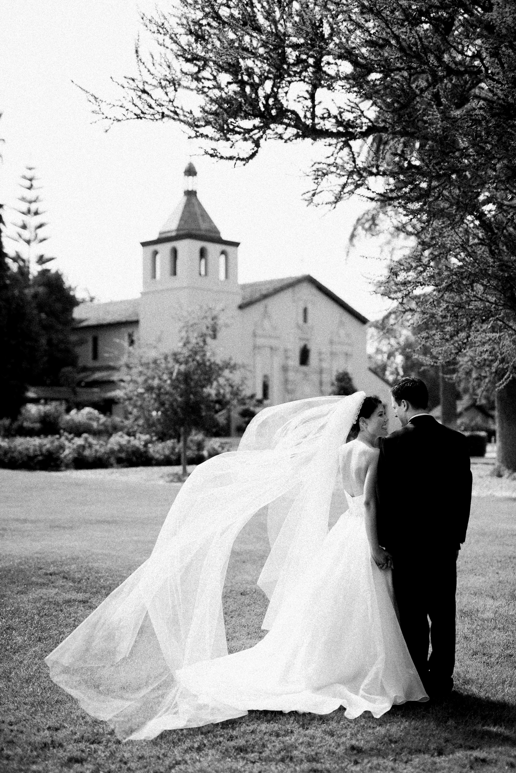 Bride and groom wedding portrait at Mission Santa Clara University