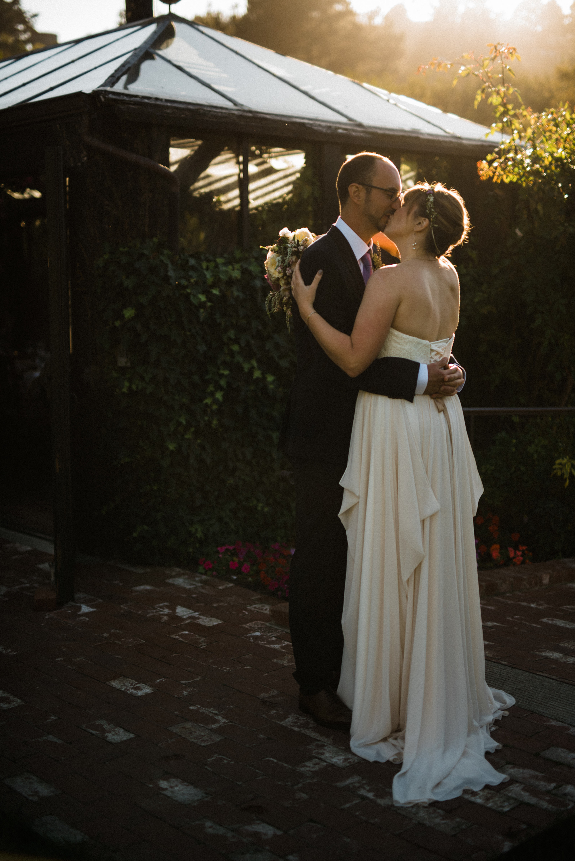 Wedding couple sunset portrait at Pelican Inn Muir Beach