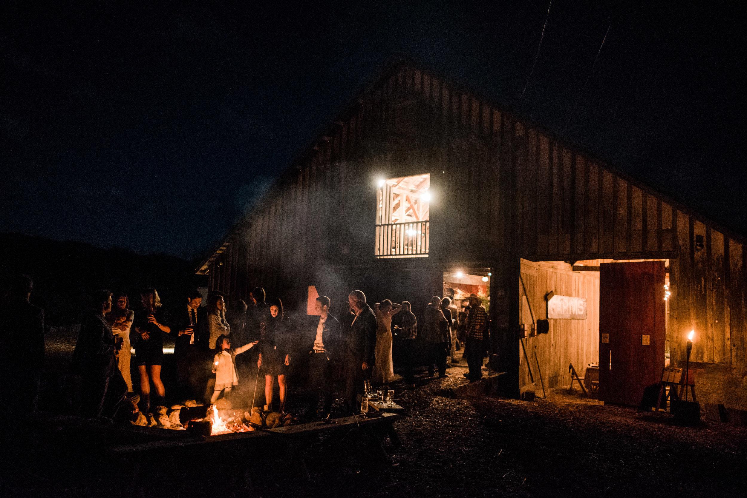 Night time outdoor bonfire at Harley Farms Pescadero wedding