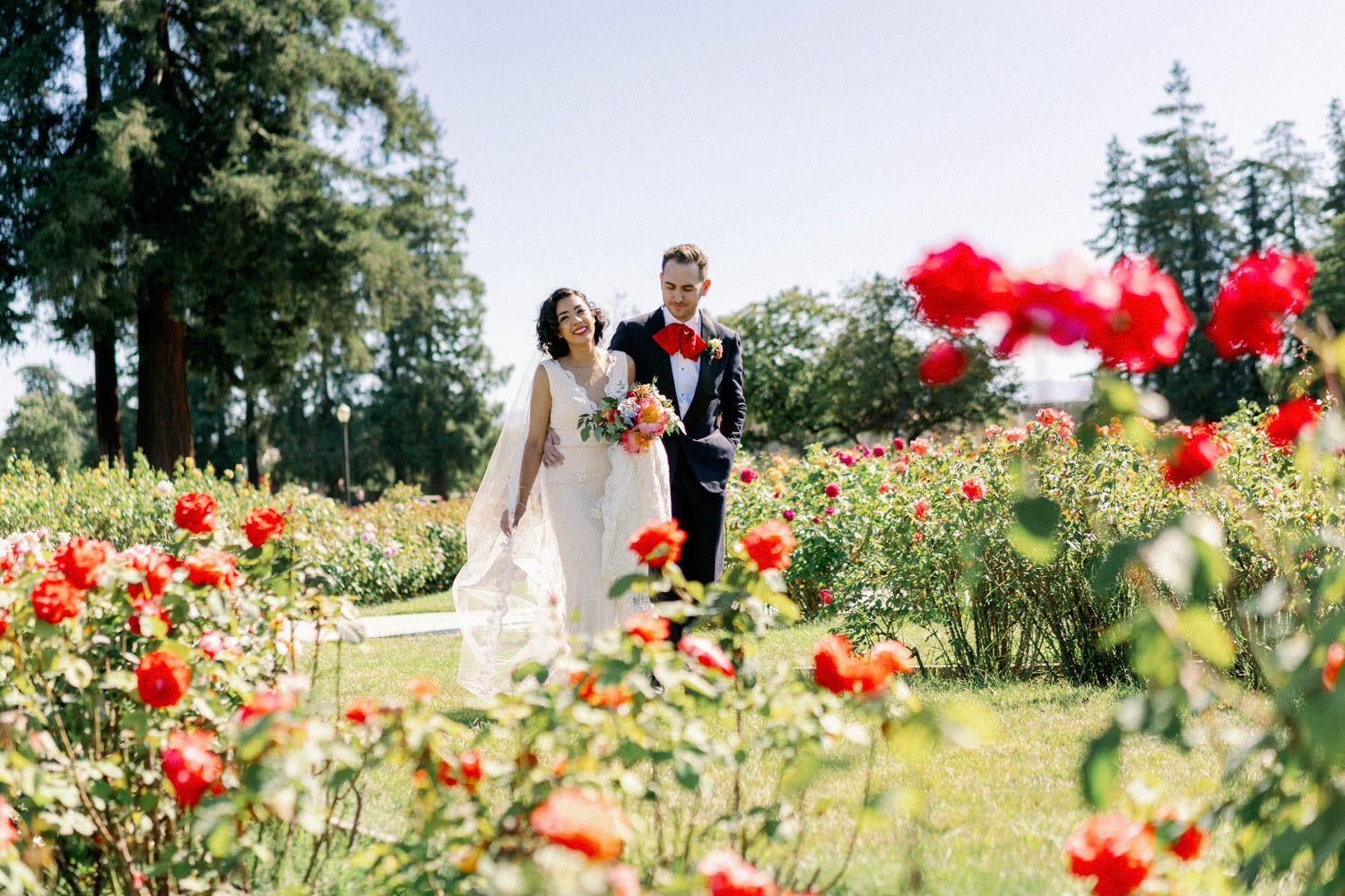 San Jose Rose Garden Wedding Couple Portrait Bride and Groom