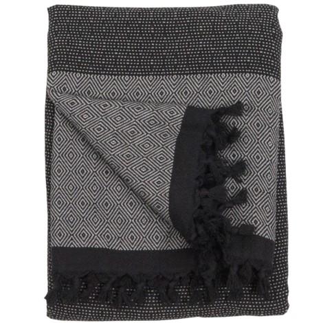 Blanket - Lined Diamond - Black Silver - $110