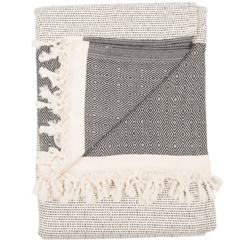 Blanket - Lined Diamond - Black - $110
