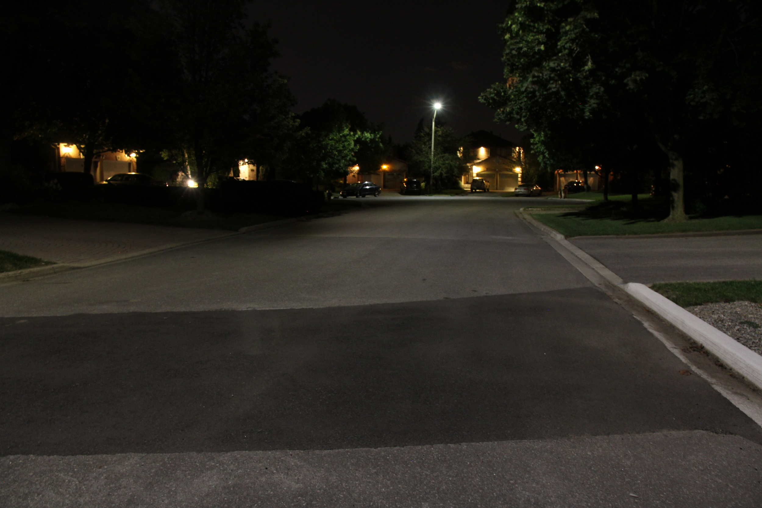 The first evening with LED streetlights - quite a change.