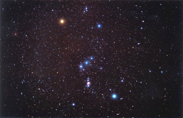 The constellation Orion. Betelgeuse is the bright, red star in the left shoulder of the great hunter.