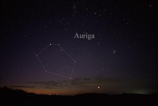 Capella in the constellation Auriga. Credit: Wikipedia CC.