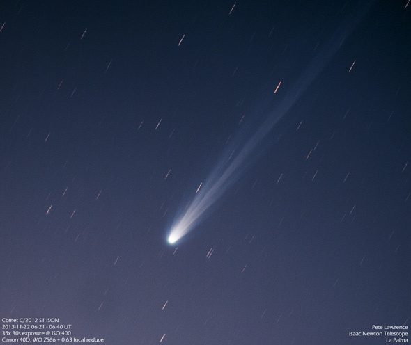 Comet ISON on Nov. 22, 2013, taken from La Palma in the Canary Islands.