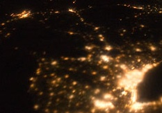 Light pollution in Ontario as seen from the International Space Station.