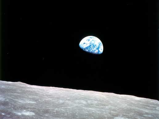 Earthrise as seen by the Apollo 8 astronauts on December 24, 1968.