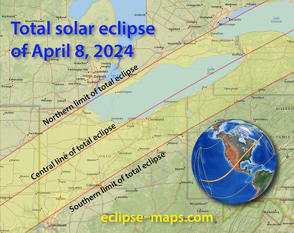 The path of the April 8, 2024 total solar eclipse as it passes over Lake Ontario. Courtesy eclipse-maps.com