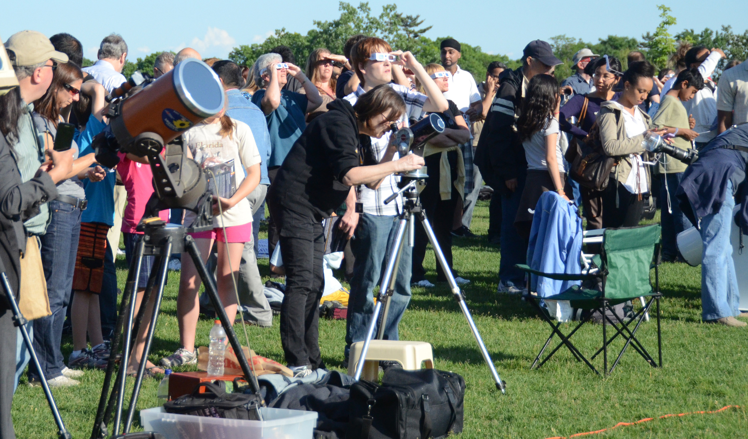 Amateur astronomers observing the transit of Venus in 2012.