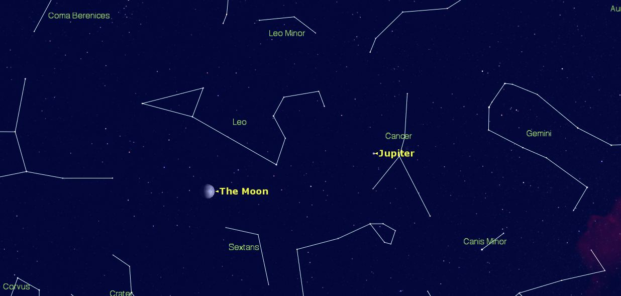 The sky on Tuesday April 28 - the Moon will be in the constellation Leo.