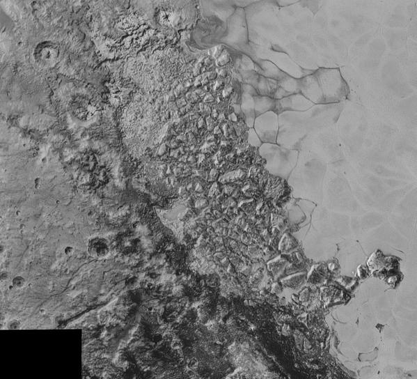 n the center of this 300-mile (470-kilometer) wide image of Pluto from NASA's New Horizons spacecraft is a large region of jumbled, broken terrain on the northwestern edge of the vast, icy plain informally called Sputnik Planum, to the right. The smallest visible features are 0.5 miles (0.8 kilometers) in size. This image was taken as New Horizons flew past Pluto on July 14, 2015, from a distance of 50,000 miles (80,000 kilometers).
