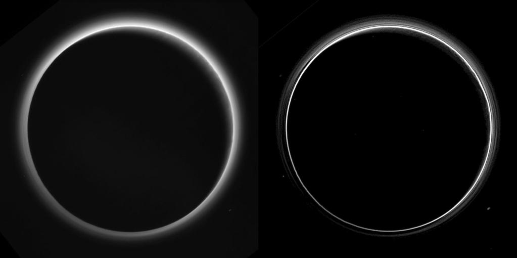 Two different versions of an image of Pluto's haze layers, taken by New Horizons as it looked back at Pluto's dark side nearly 16 hours after close approach, from a distance of 480,000 miles (770,000 kilometers), at a phase angle of 166 degrees. Pluto's north is at the top, and the sun illuminates Pluto from the upper right. These images are much higher quality than the digitally compressed images of Pluto's haze downlinked and released shortly after the July 14 encounter, and allow many new details to be seen. The left version has had only minor processing, while the right version has been specially processed to reveal a large number of discrete haze layers in the atmosphere. In the left version, faint surface details on the narrow sunlit crescent are seen through the haze in the upper right of Pluto's disk, and subtle parallel streaks in the haze may be crepuscular rays- shadows cast on the haze by topography such as mountain ranges on Pluto, similar to the rays sometimes seen in the sky after the sun sets behind mountains on Earth.