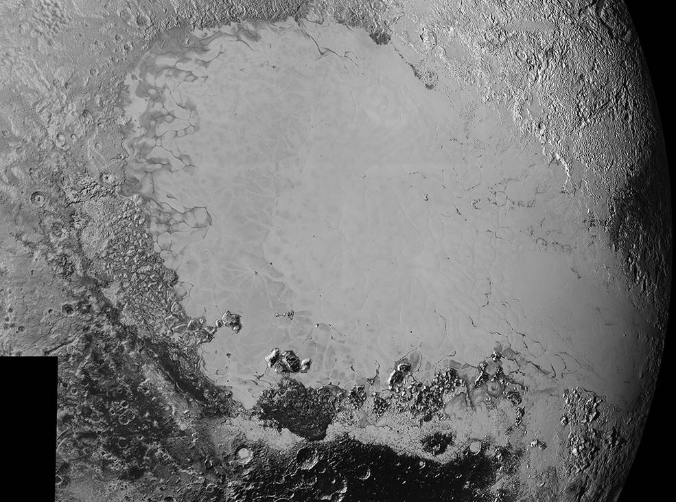 Mosaic of high-resolution images of Pluto, sent back from NASA's New Horizons spacecraft from Sept. 5 to 7, 2015. The image is dominated by the informally-named icy plain Sputnik Planum, the smooth, bright region across the center. This image also features a tremendous variety of other landscapes surrounding Sputnik. The smallest visible features are 0.5 miles (0.8 kilometers) in size, and the mosaic covers a region roughly 1,000 miles (1600 kilometers) wide. The image was taken as New Horizons flew past Pluto on July 14, 2015, from a distance of 50,000 miles (80,000 kilometers).