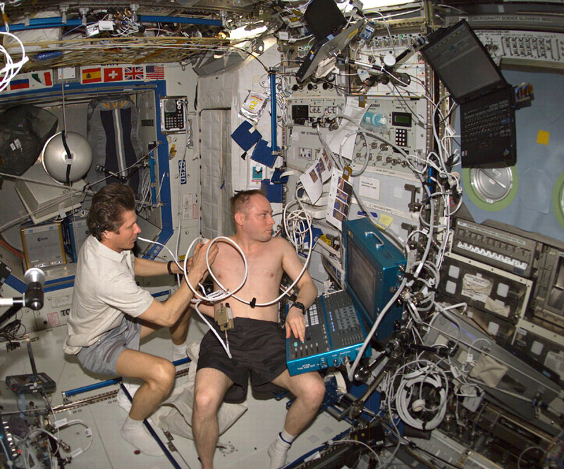 Remote ultrasound procedures help provide for medical diagnoses on the International Space Station.   Photo courtesy NASA Spinoff