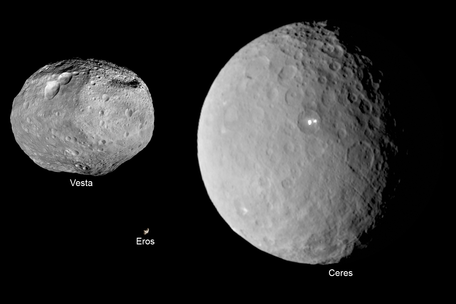 Asteroids Vesta, Eros and Ceres