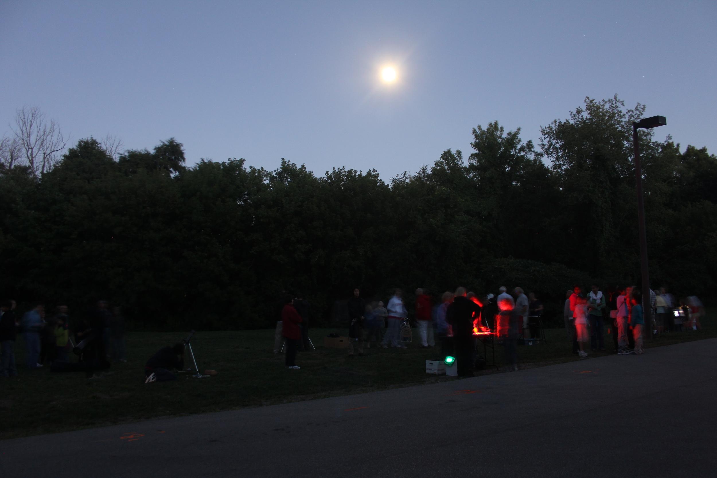 Telescopes set up at Riverwood to look at the Moon.