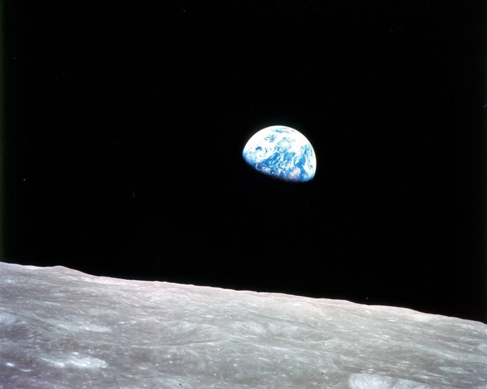 Earthrise as seen from Apollo 8 in lunar orbit December 24, 1968