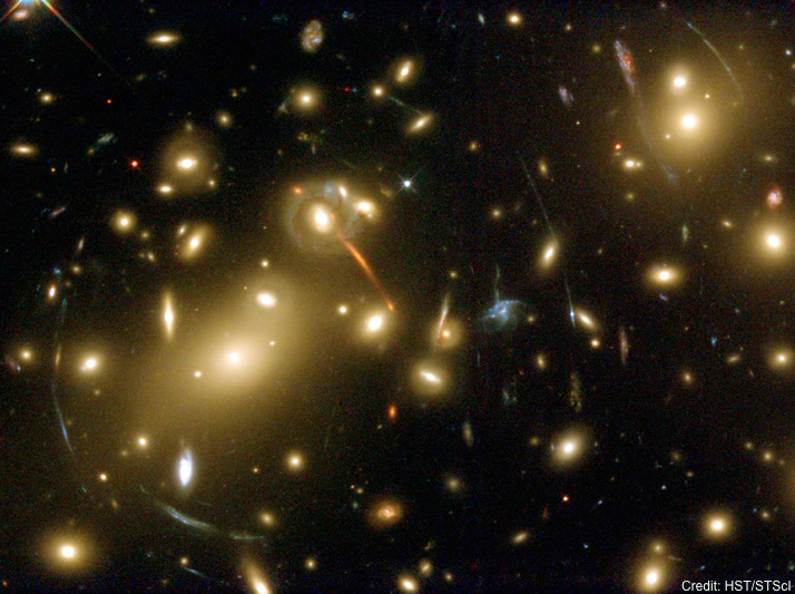 A beautiful image from the Hubble Space Telescope showing a galaxy cluster made up of hundreds of galaxies (the orangish fuzzy objects in the image). Beautiful gravitational lensing arcs can also be seen. These arcs are actually background galaxies whose light has been distorted by the gravity of the galaxy cluster as it travels to us