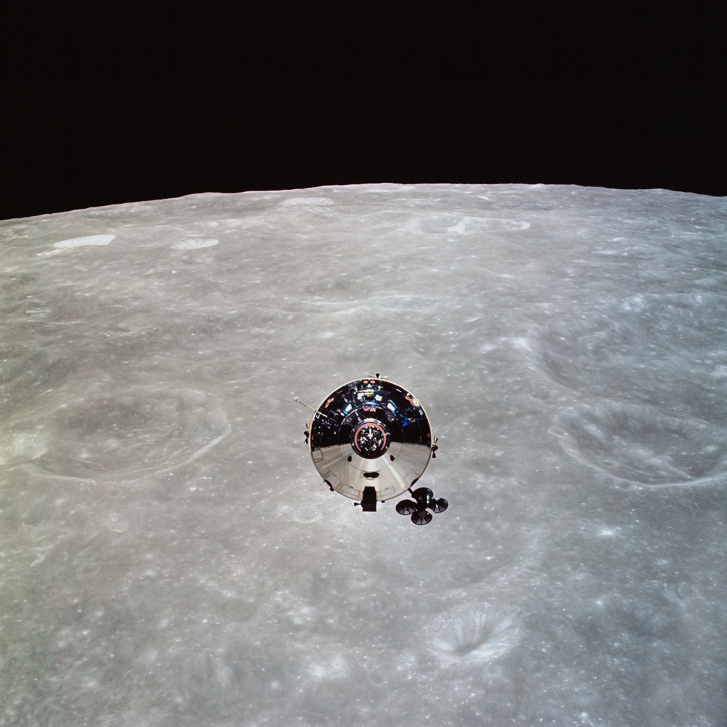 Apollo 10 Command Module Charlie Brown in orbit around the Moon, May 1969.