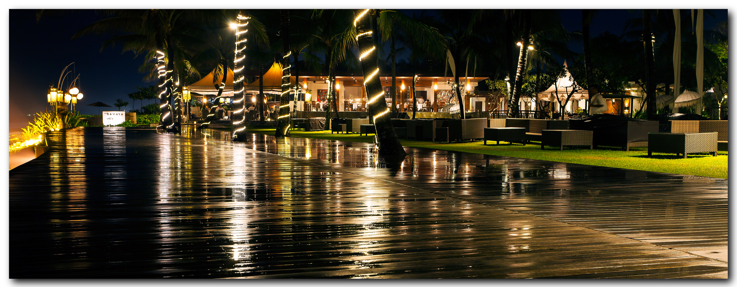 Breezes Restaurant at night; from the beach