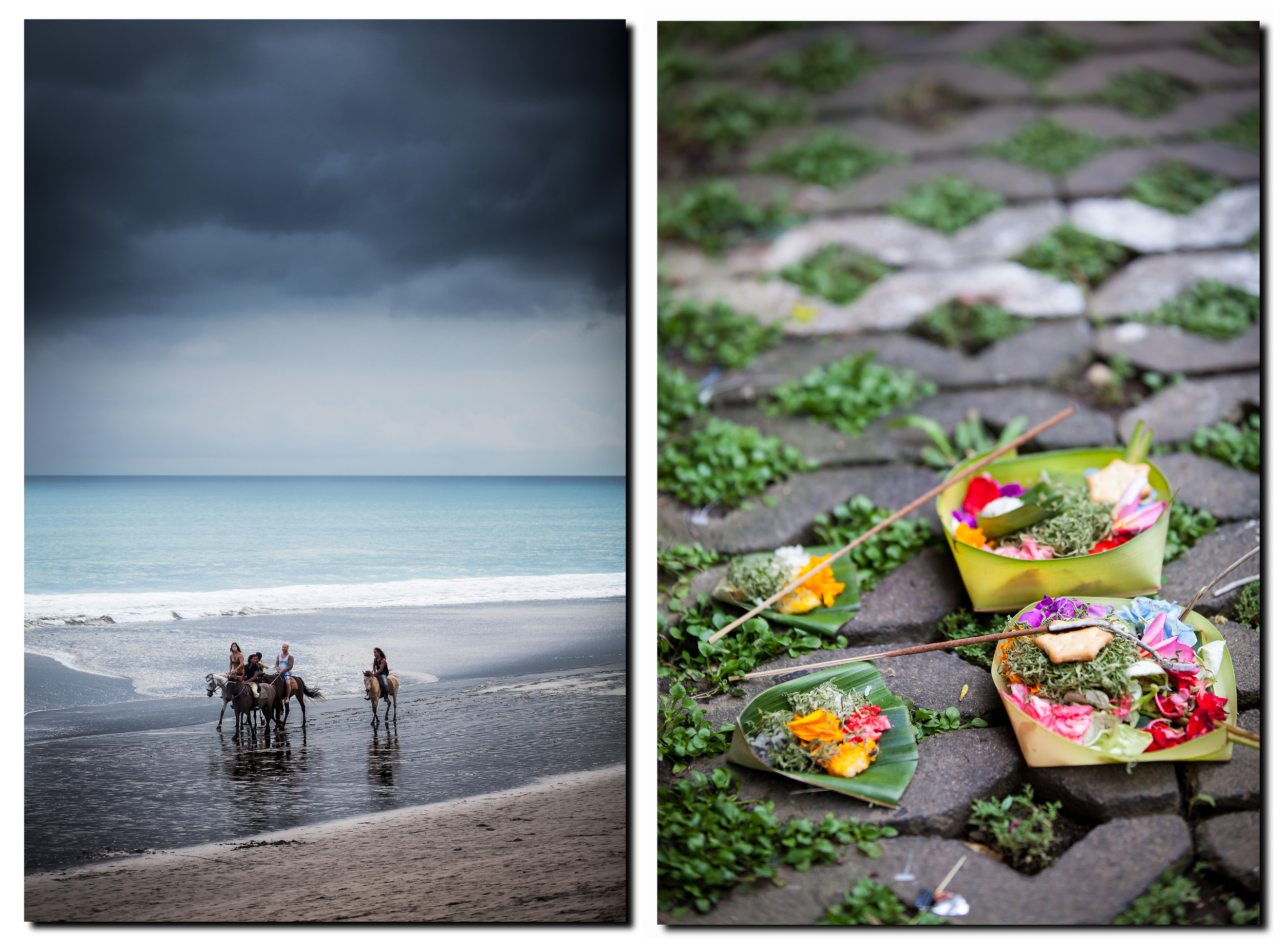 Horses on Seminyak beach & a traditional Hindu offering.