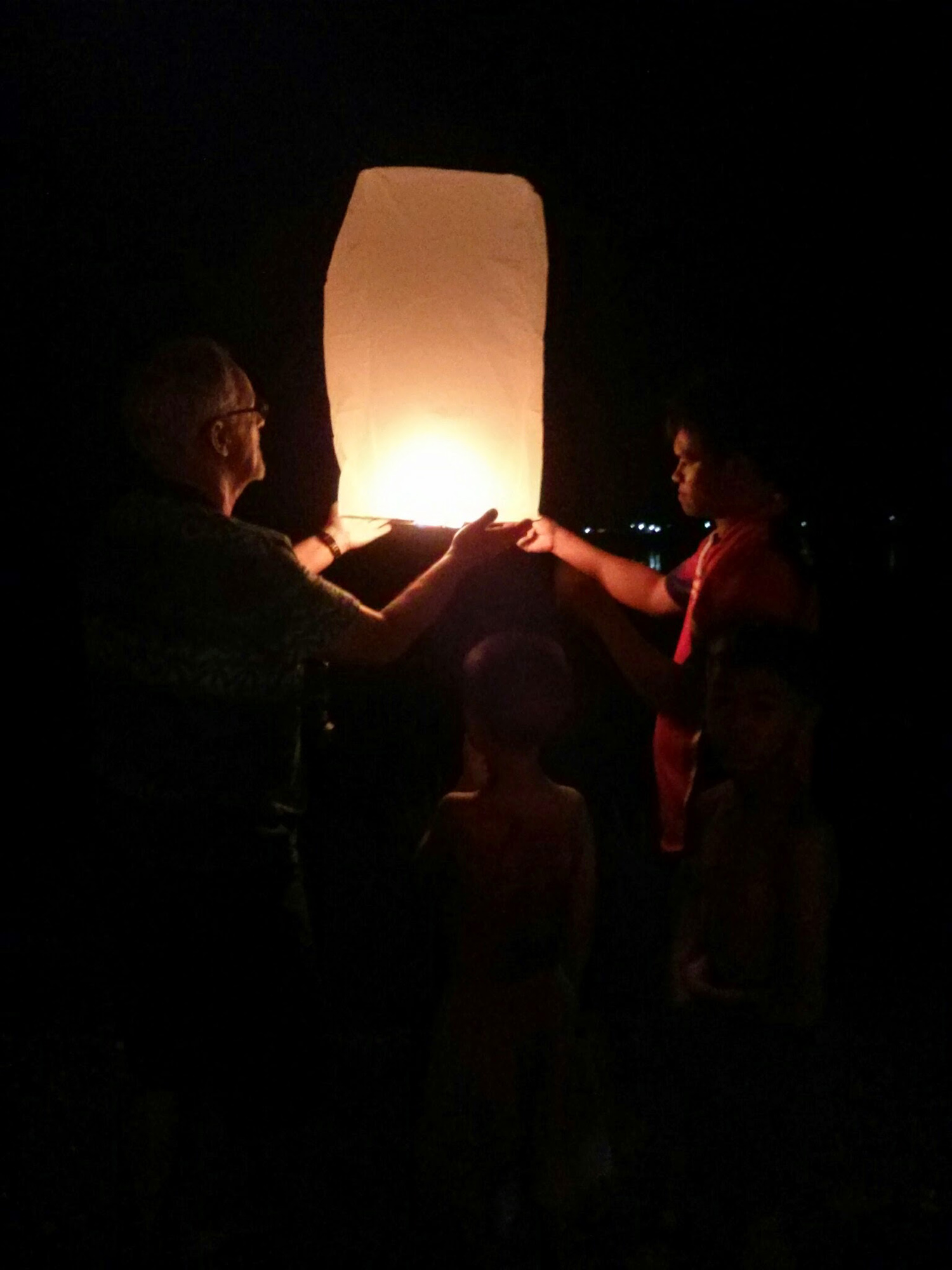 Our guests sending fire lanterns off over the river to Lao during the Naga festival, 14 to 17 October 2016
